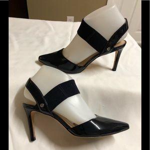Antonio Melani Black Patent Leather heel  Chanttel